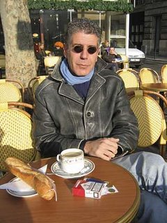 Tony and ham sandwich at Parisian sidewalk cafe