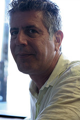 Bourdain at Hot Doug's - Photo by Cinnamon Cooper